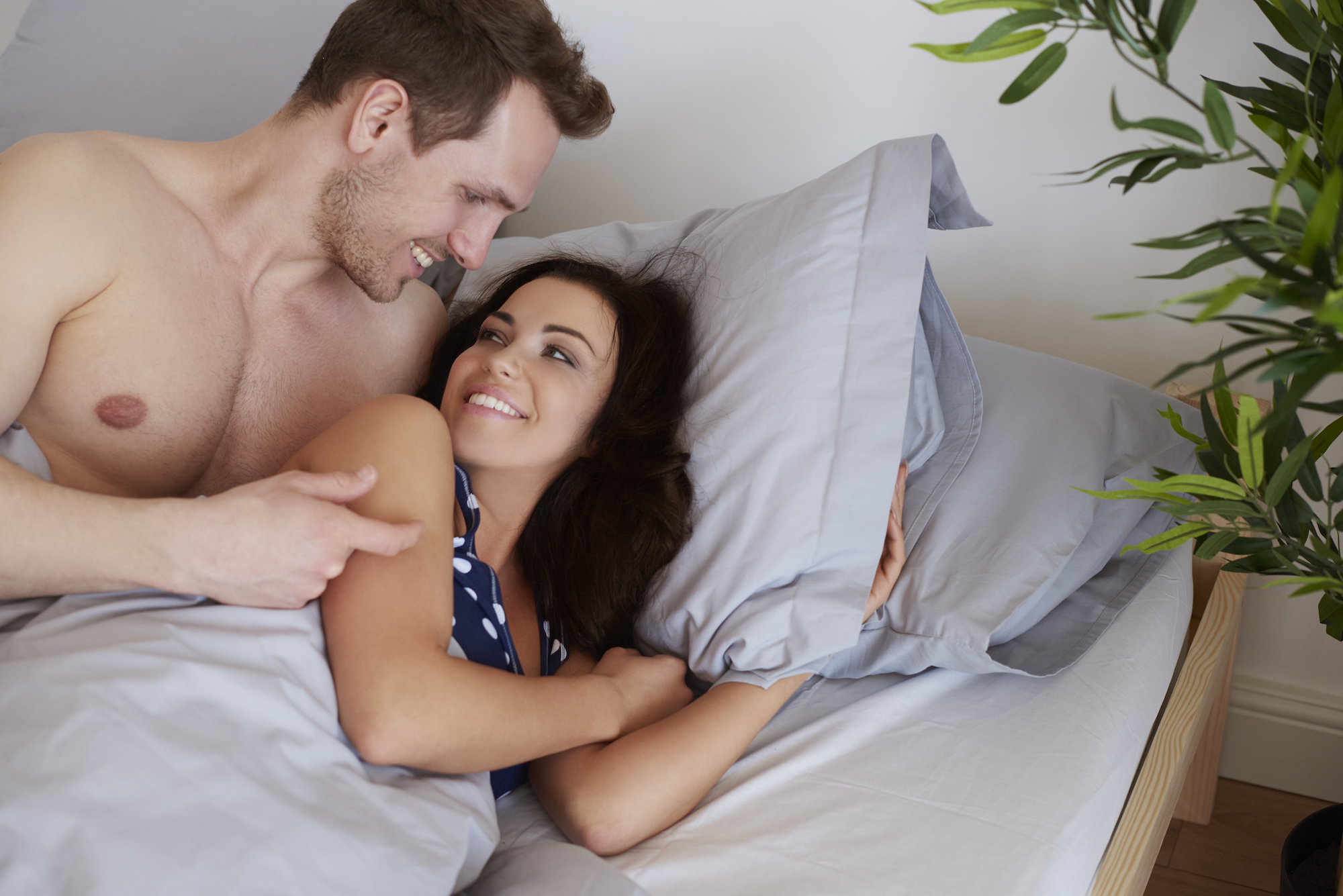 Pleasant morning of young couple