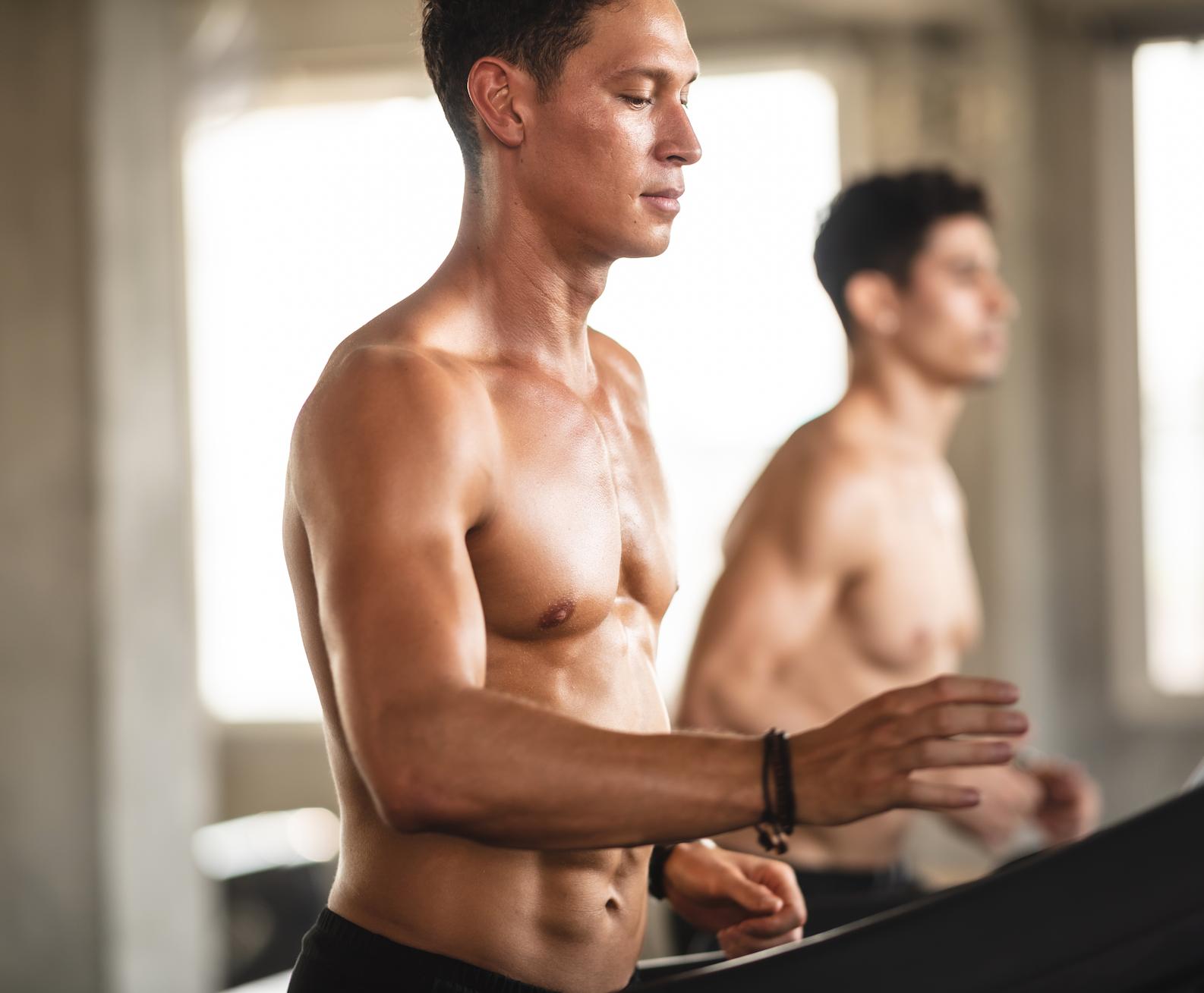 Men running on a treadmill