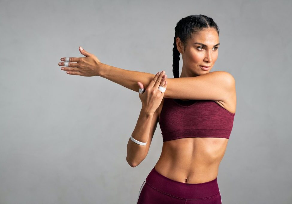 Fit woman doing stretching