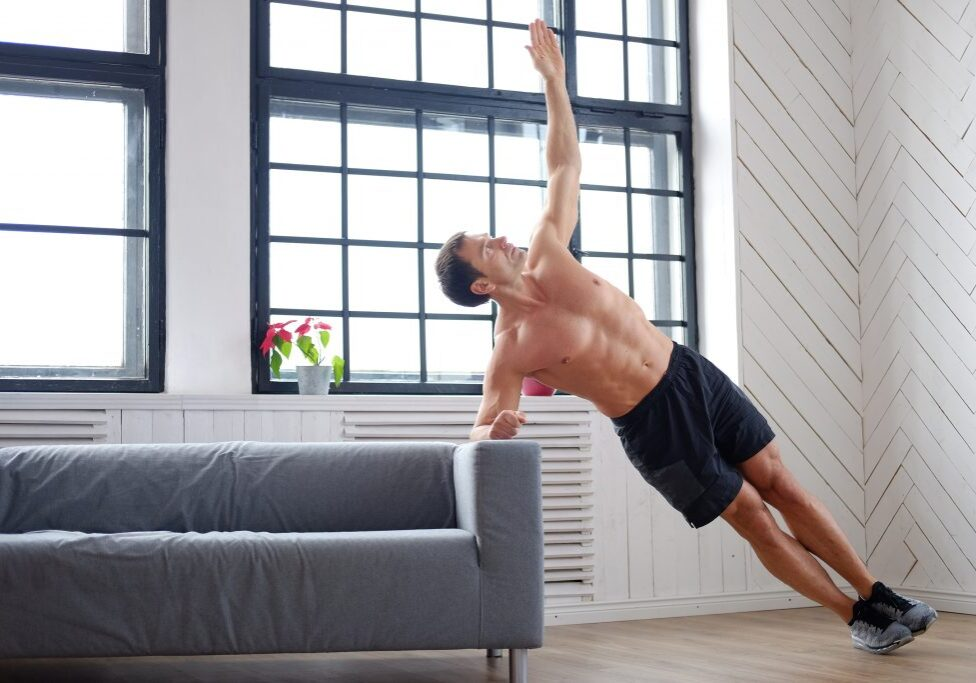 Middle age man doing fitness exercises
